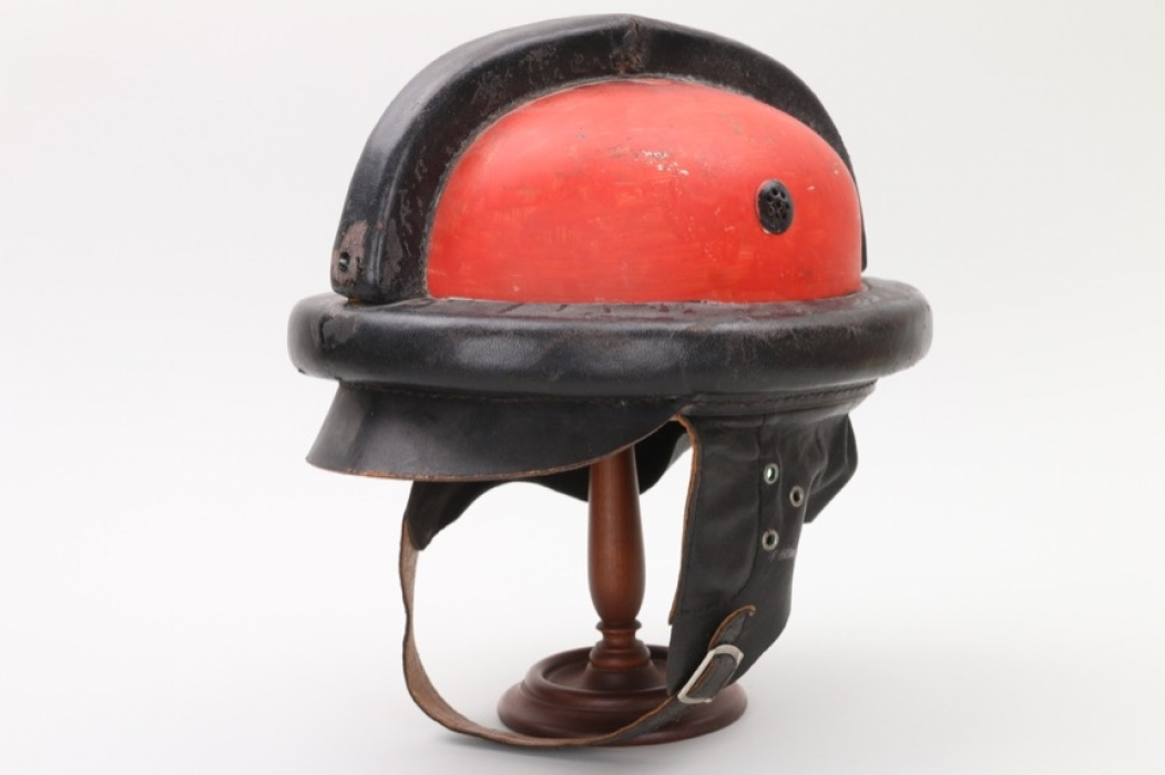 Postwar leather motorcyclist's helmet