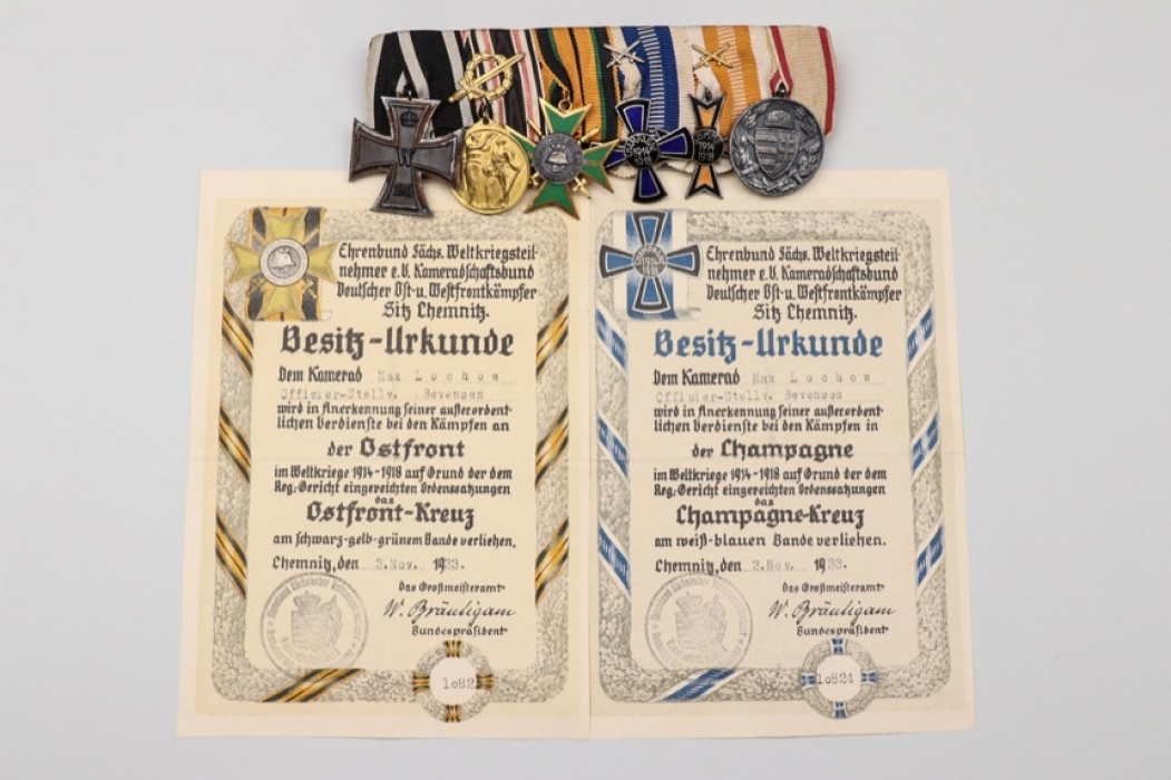 Imperial Germany - 6-place medal bar + certificates