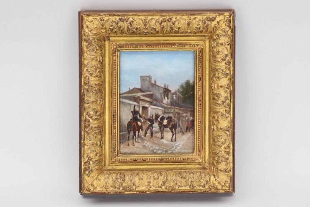 France - framed oil of cuirassiers