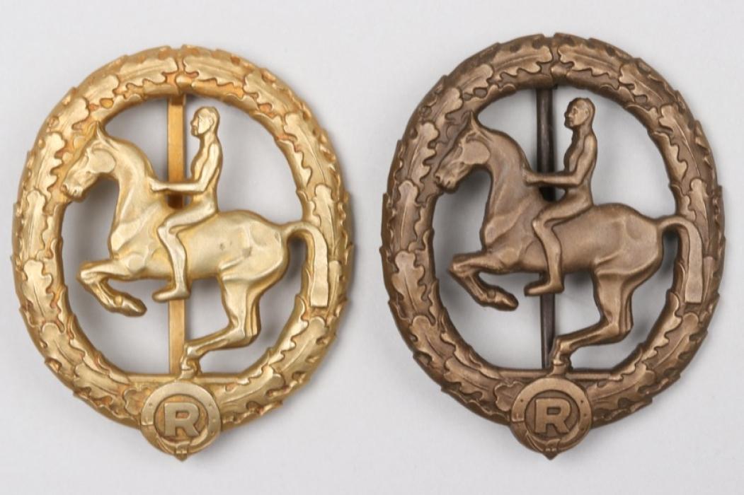 Horse Rider's Badge in gold & bronze