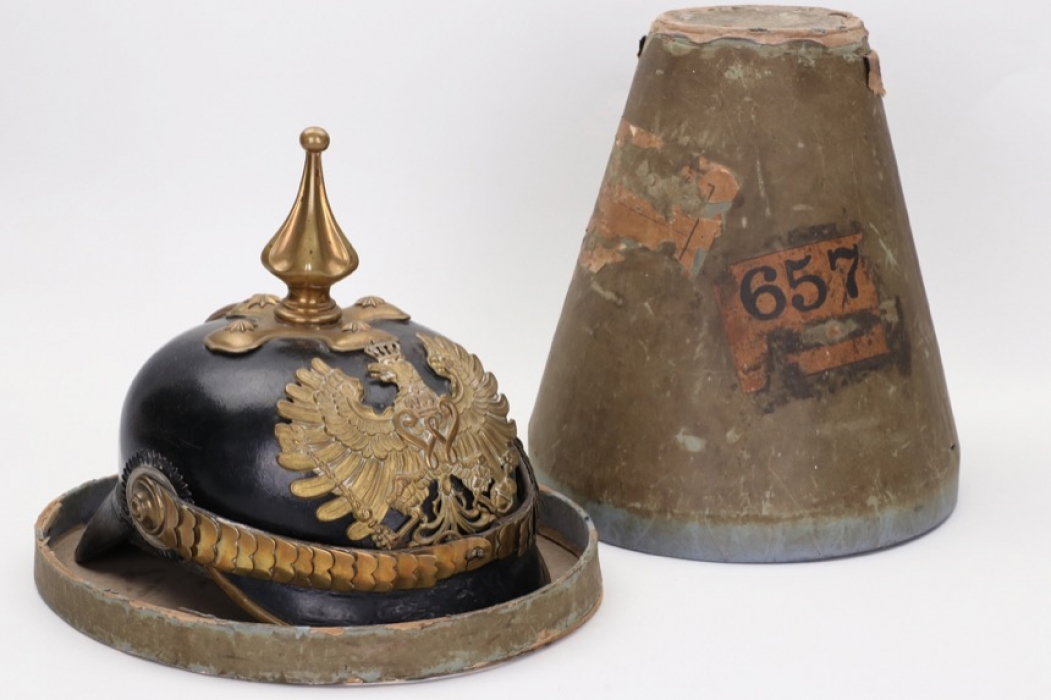 Prussian M1895 police spike helmet in box