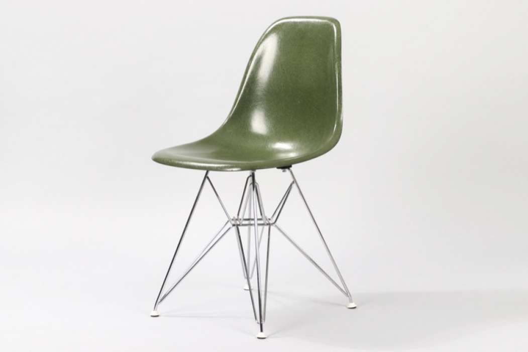 Navy Green Fiberglas DSR Chair // Charles and Ray Eames