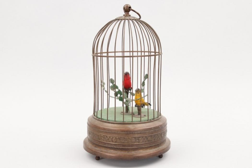 Antike Spieluhr Vogelkäfig mit singenden Vögeln