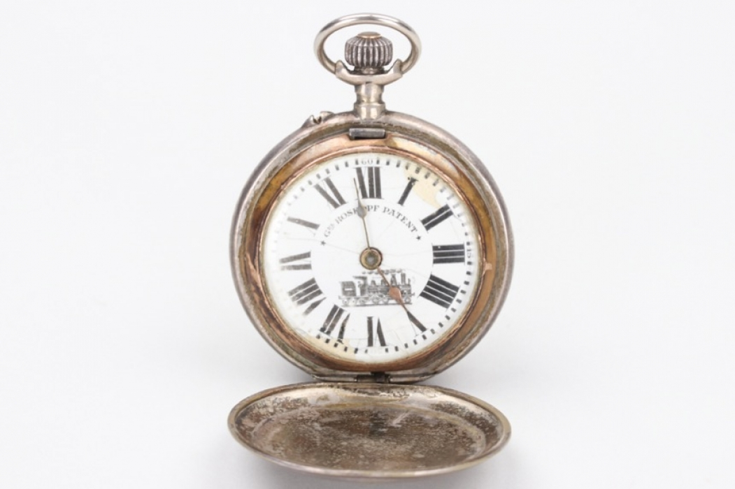 "Silver train pocket watch ""Roskopf Patent"" - 800"