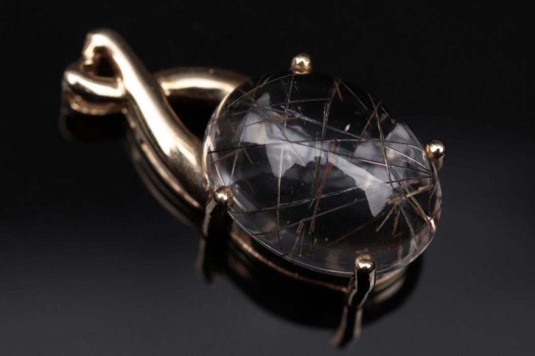 Golden pendant with rutilated quartz