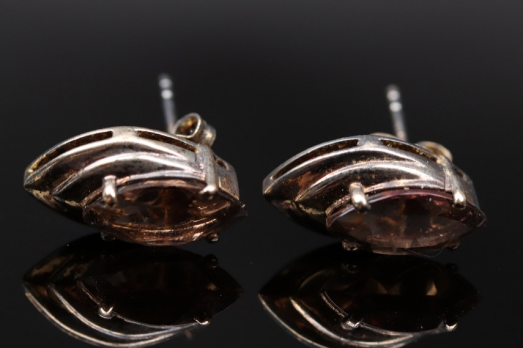 Silver ear studs with navette shaped smoky quartz