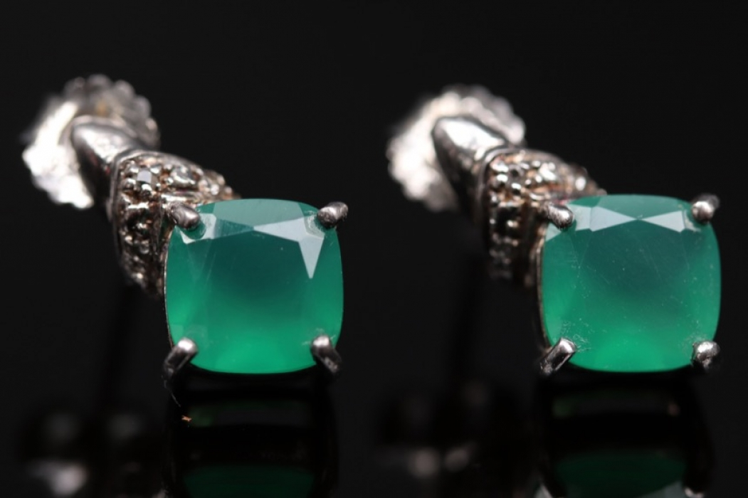 Silver ear studs with green chalcedonies
