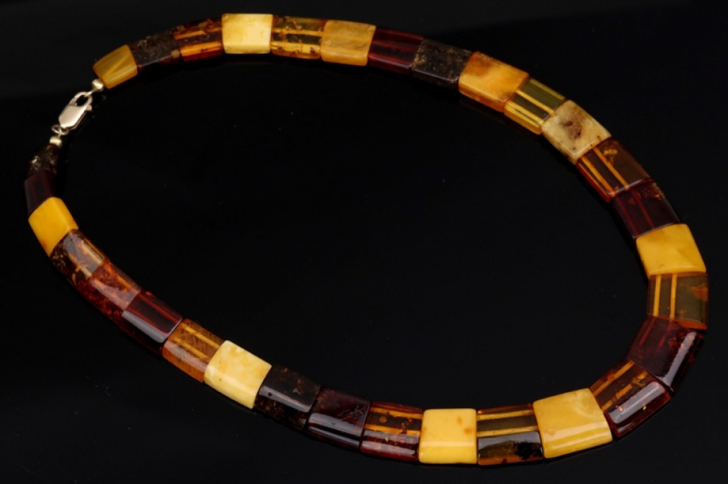 Multicolored amber necklace