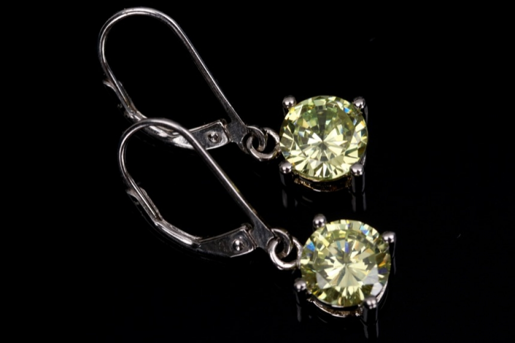 Silver earrings with pale green cubic zirconias