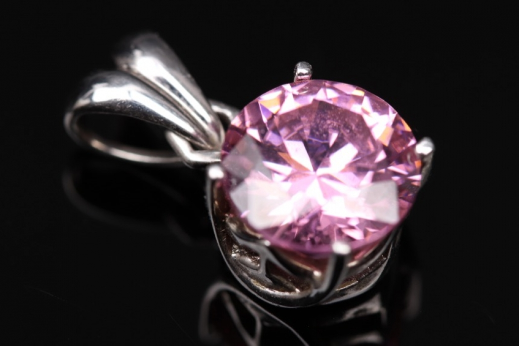 Silver necklace pendant with pink cubic zirconia
