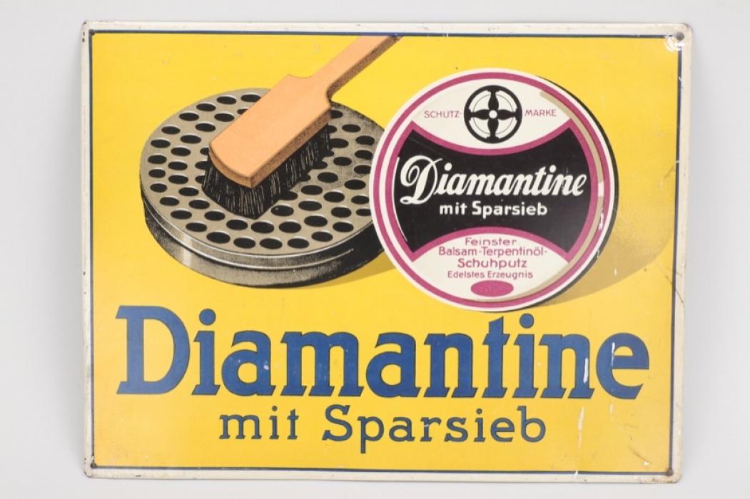 Diamantine metal sign