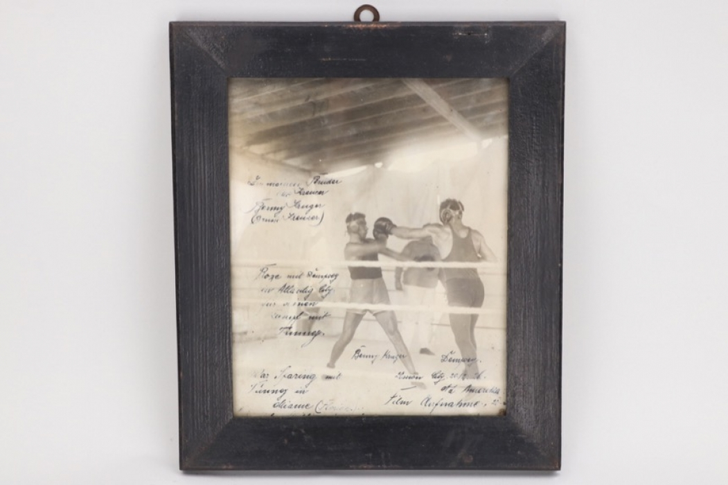Jack Dempsey - Framed photograph with his sparring partner B. Kruger