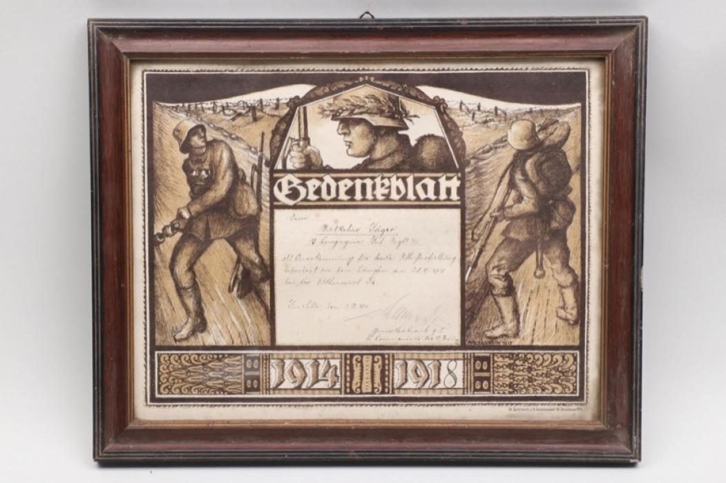 "WWI Inf.-Rgt. 155 framed ""Gedenkblatt"""