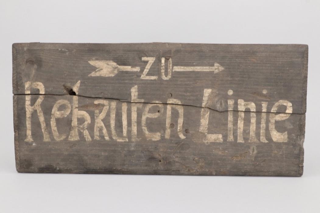"Imperial Germany - WWI trench sign mark ""Rekrutenlinie"""