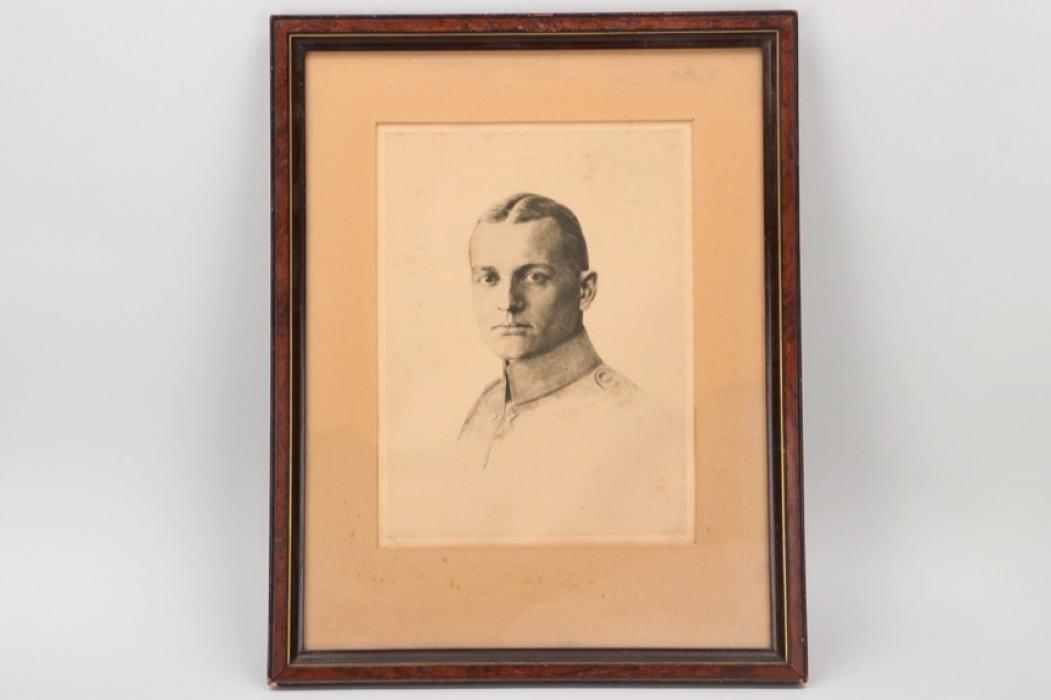 WWI Manfred Freiherr von Richthofen framed portait