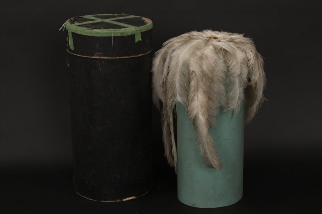 Saxony - General's spike helmet parade feathers in container