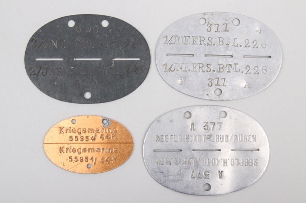 4x Wehrmacht ID tags - Seeflieger Bug/Rügen