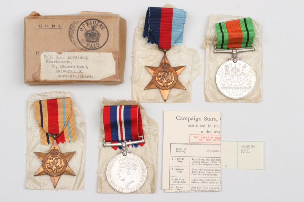 Great Britain - lot of campaign stars & medals with shipping box