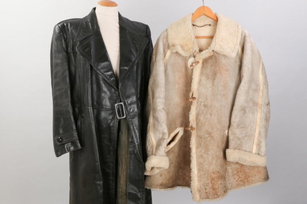 Wehrmacht winter fur jacket + civilian leather coat
