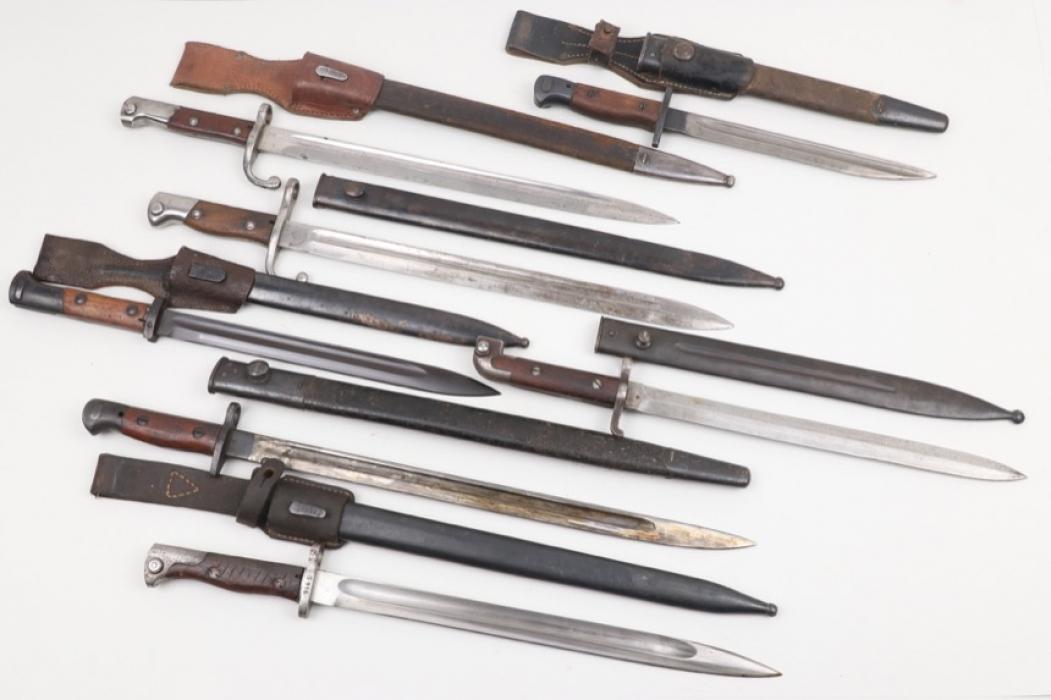 Lot of seven international bayonets