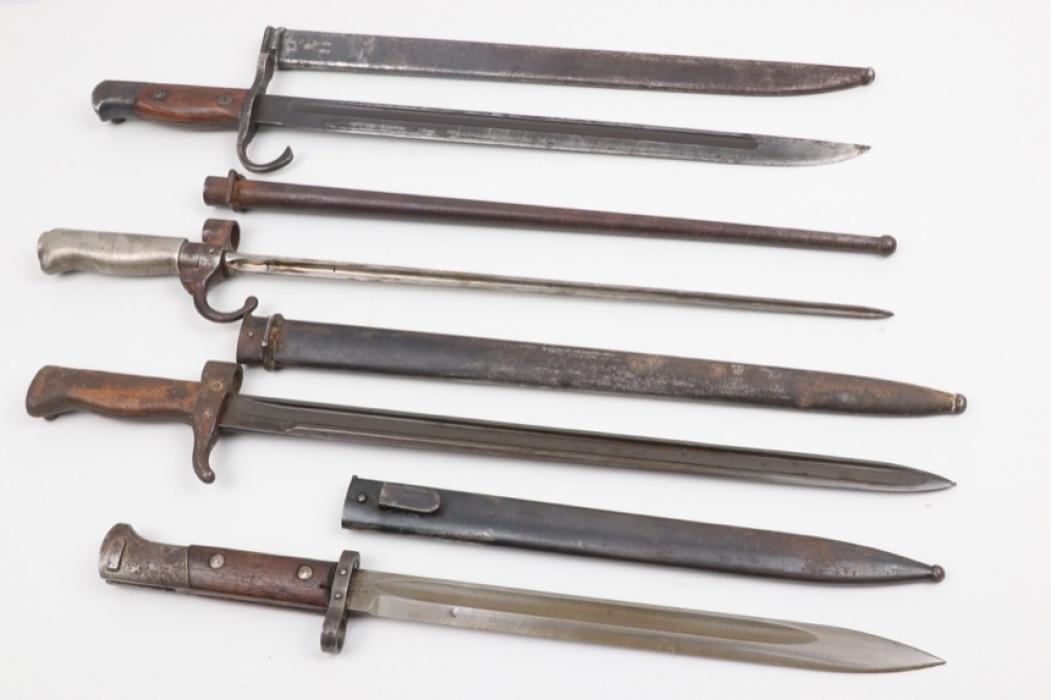 Lot of four international bayonets