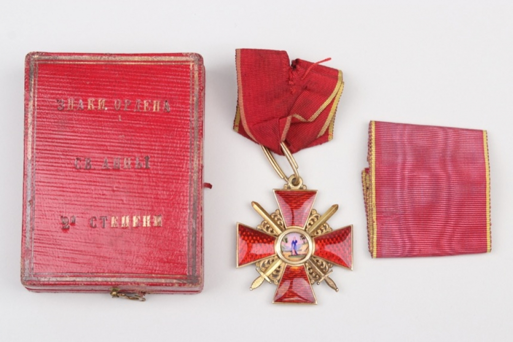 Russia - Order of Saint Anna 2nd Class with swords in case - gold
