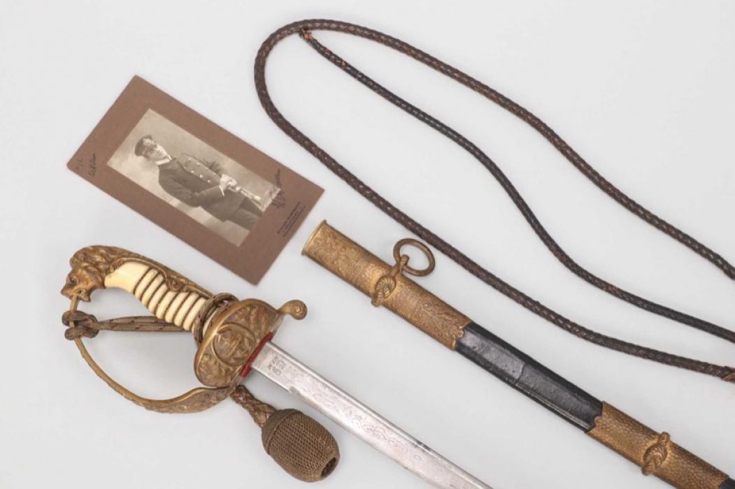 Fischer, Waldemar v. - Naval sword with damascus blade presented by General Hans Geisler