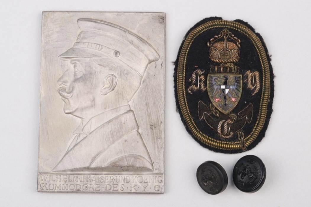 Fischer, Waldemar v. - silver Kaiserlicher Yacht-Club plaque + badges