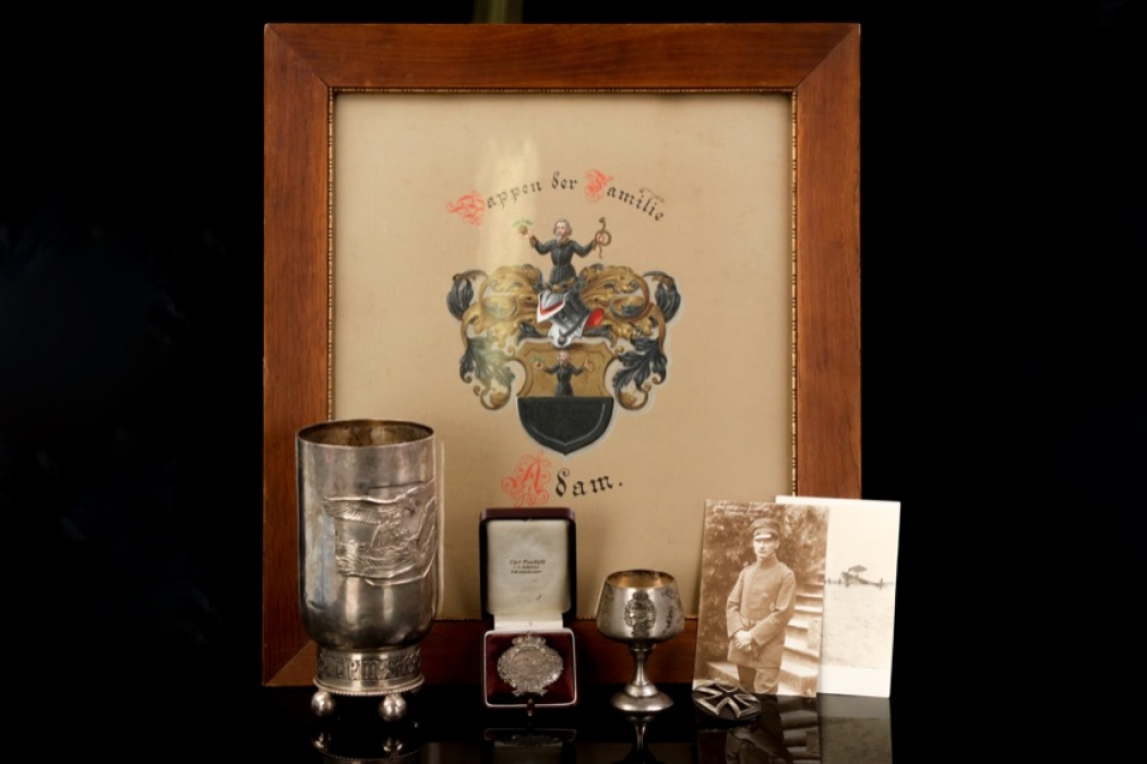 """WWI """"Ehrenbecher"""" Honor Goblet grouping to Leutnant Adam"""