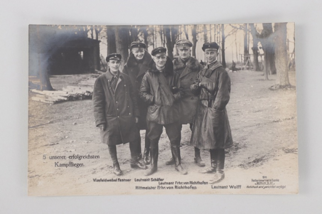 WWI postcard of five fighter pilots