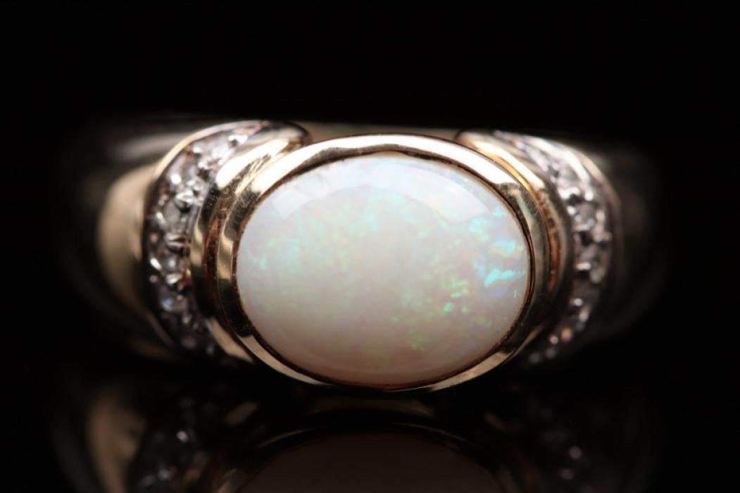 Milk opal and diamond ring