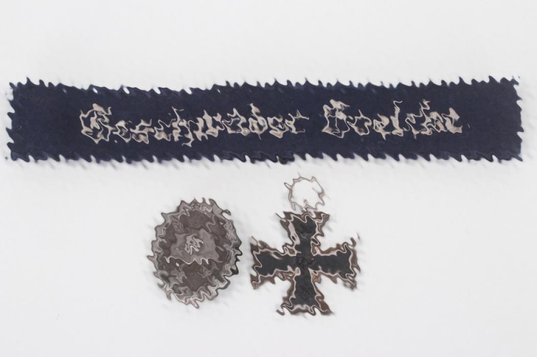 "3 + ""Geschwader Boelcke"" cuff title & badges"