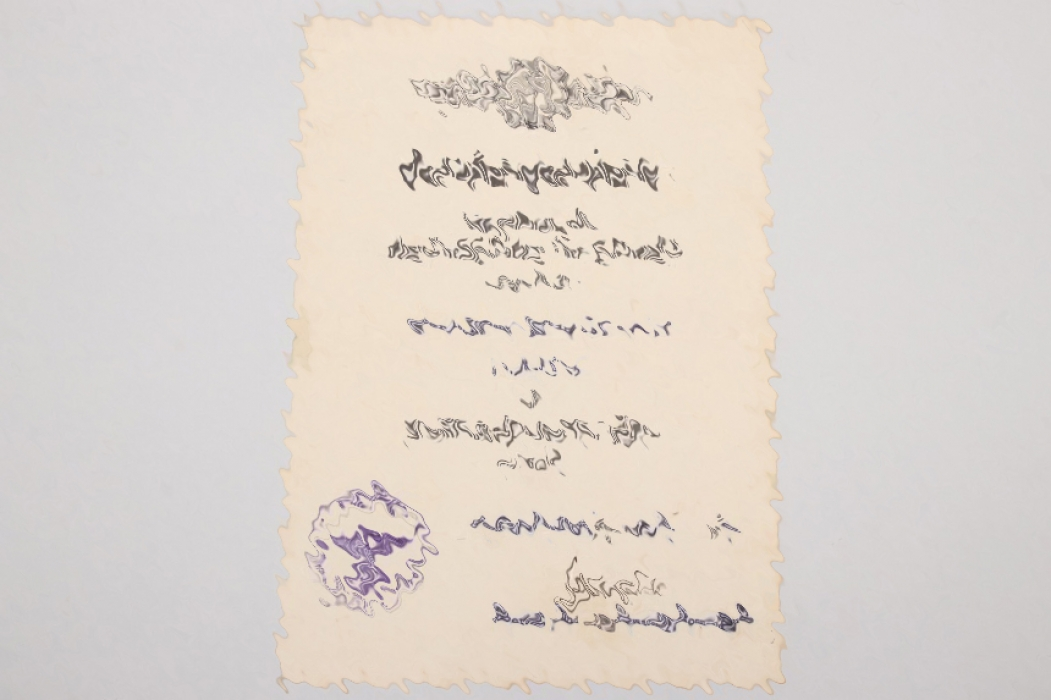Drewes, Martin - certificate to Squadron Clasp for Jäger in gold & photos